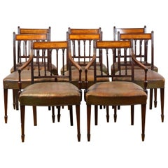Set of 8 English George III Dining Chairs circa 1780, Mahogany and Satinwood