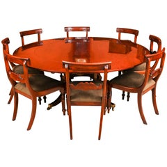 Vintage Mahogany Jupe Dining Table, Leaf Cabinet and 8 Chairs