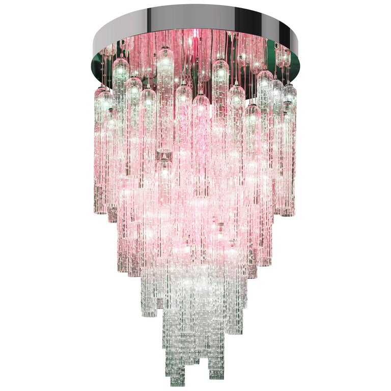 Chandelier Andy, Pipes in Blown Muranese Glass, Italy For Sale