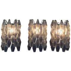 20th Century Carlo Scarpa  Iron Glass Mod. Poliedri Appliqués Set of Three