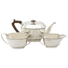 Antique George V Art Deco Style Sterling Silver Three-Piece Tea Service