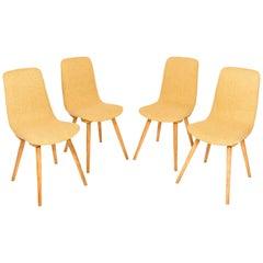 Set of Four 20th Century Fameg Yellow Vintage Chairs, 1960s, Poland
