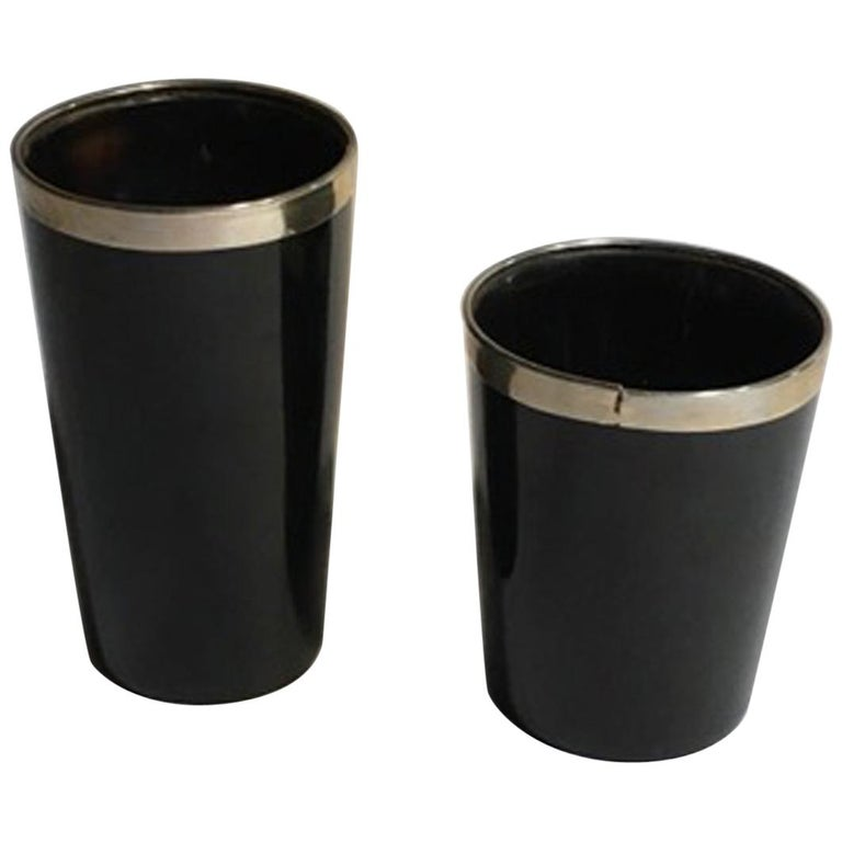 Italy Set of Two Black Faux Horn and Metal Chrome Bowls in Mountain Style For Sale