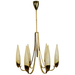 Beautiful Mid-Century Modern Brass Chandelier with Long Glass Shades
