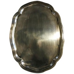 French Provincial Style Pewter Large Tray