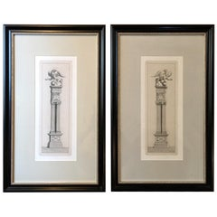 France Pair of Neoclassical Architectural Prints on Paper in Black Wood Frame