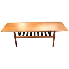 Tall Danish Midcentury Teak Coffee Table by Grete Jalk for Glostrup