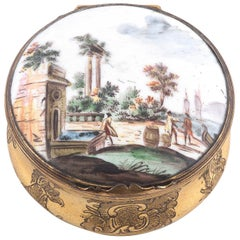 Late 18th Century Enamelled and Gilt Metal Circular Table Snuff Box