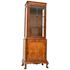 Slim Antique Burr Walnut Display Cabinet