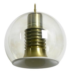 Very Rare 1960s Large Glass Globe Space Age Ceiling Lamp by Erco