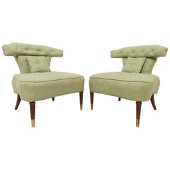Pair of Grosfeld House Style Slipper Chairs, circa 1950s