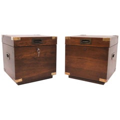 Pair of Midcentury Campaign Style Cube Form Chests by Lane Furniture