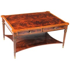 Elegant Flame Mahogany Coffee Table with Four Drawers, 20th Century