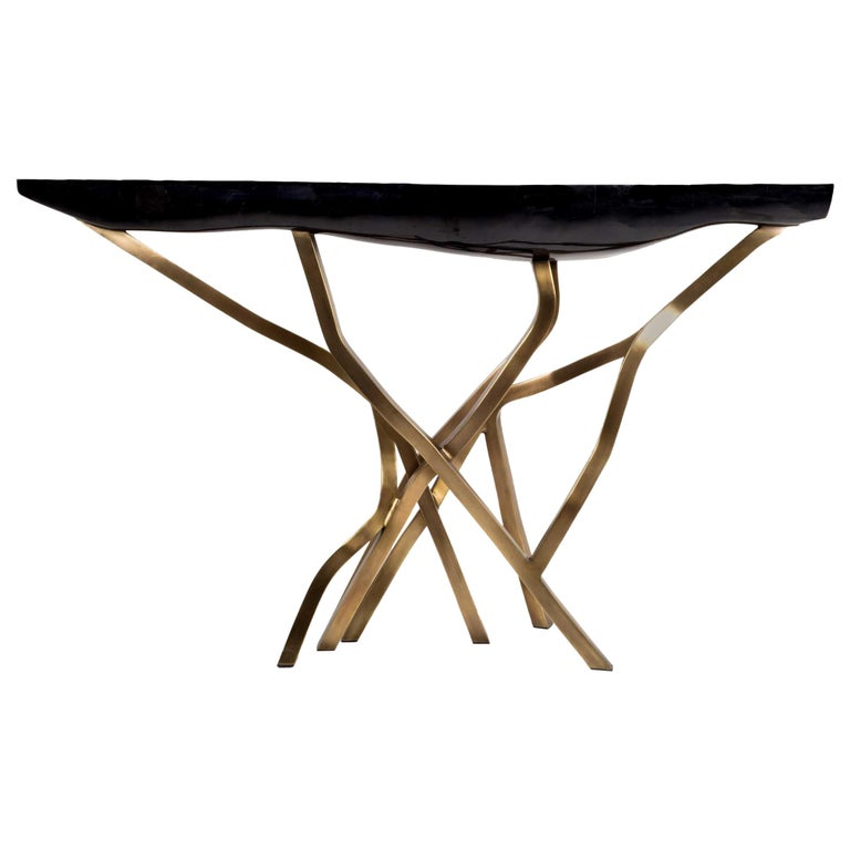 Acacia Console Table in Black Pen Shell & Bronze-Patina Brass by R&Y Augousti For Sale