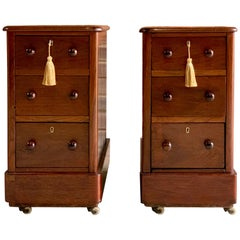 Antique Bedside Cabinets Pedestals Nightstands Mahogany, Victorian, 19th Century