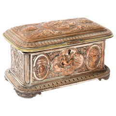 Antique French Gilt and Copper Casket 19th Century