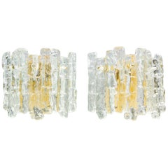Pair of Kalmar Midcentury Icicle Ice Glass Sconces, Austria, 1960s