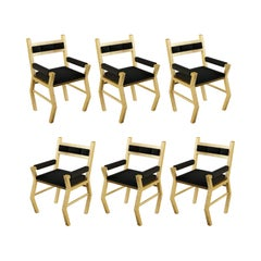 Gold Leaf Dining Chair With Black Mohair Upholstery