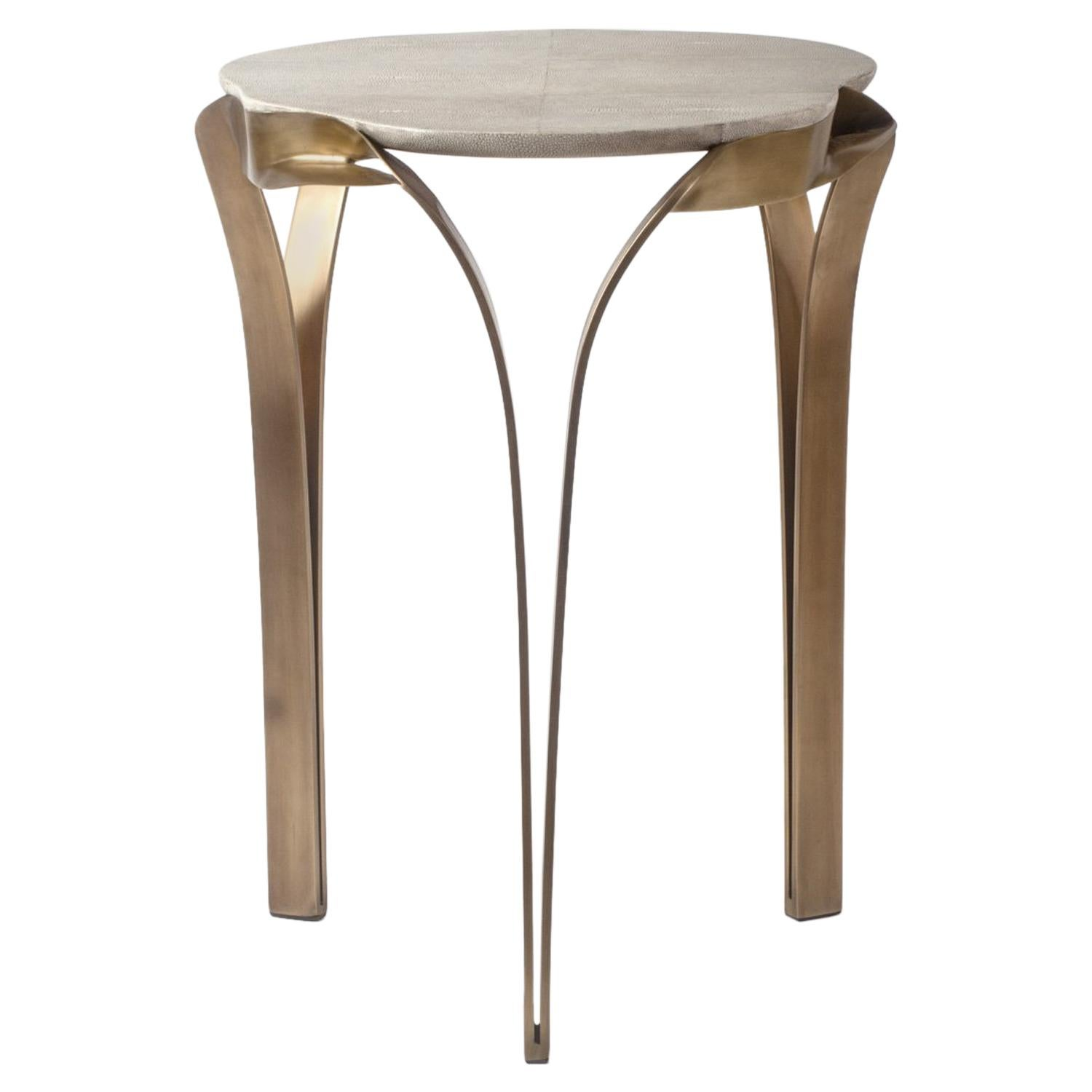 """Angel-Falls"" Side Table in Cream Shagreen & Bronze-Patina Brass, R & Y Augousti"