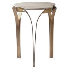 """Angel-Falls"" Side Table in Cream Shagreen & Bronze-Patina Brass, R & Y Augousti"