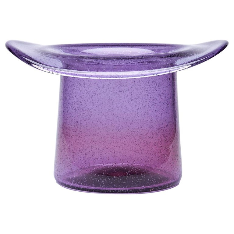 Vintage Murano Barovier & Toso Amethyst Glass Top Hat Vase, circa 1975 For Sale