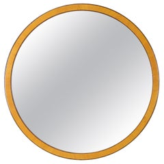 Round Mirror in Birch and Elm, Swedish 1930s, by Bodafors