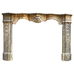 18th Century Italian Turquin Marble Fireplace Mantel in the Style of Louis XV