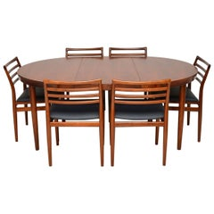 1960s Danish Wood Dining Table and 6 Chairs by Erling Torvits