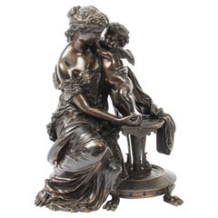 Antique Patinated Bronze by Emile Herbert Woman with Cherub, 19th Century
