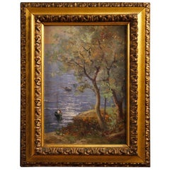 20th Century L. Roda Oil on Cardboard Italian Signed Seascape Painting, 1920
