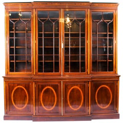 Antique English Flame Mahogany and Inlaid Four-Door Breakfront Bookcase