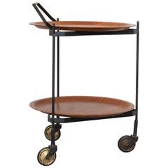 Midcentury Teak Tray Cart Designed in Sweden, 1950s