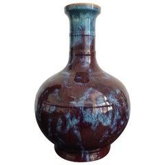 Antique Chinese Flambé Vase Burgundy and Blue