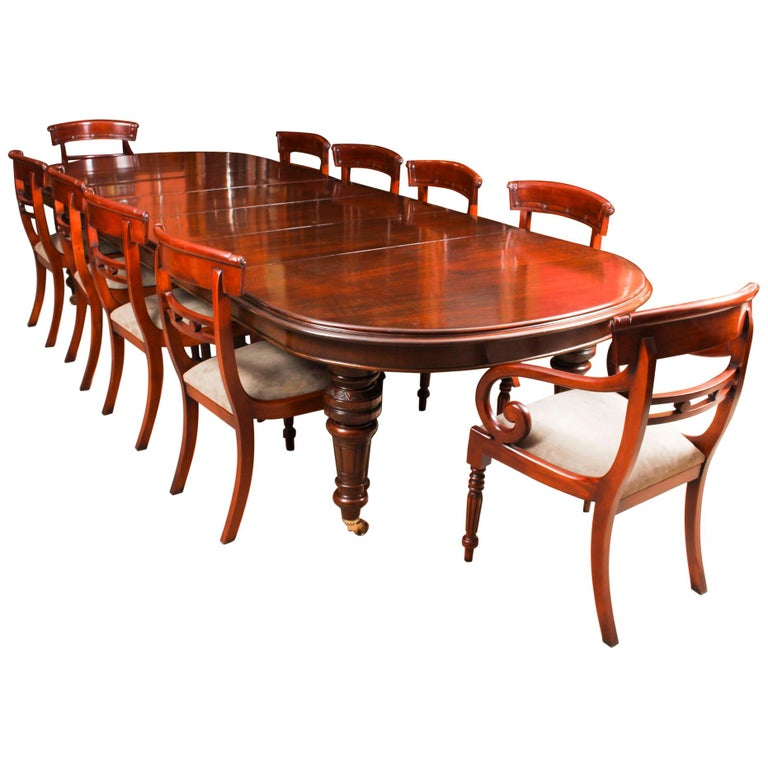Antique Victorian D-End Mahogany Dining Table 19th Century and 10 Chairs