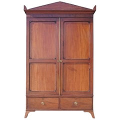 Early 19th Century Regency Mahogany Channel Islands Campaign Wardrobe