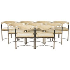 Horst Brüning, 9 Dining Chairs in Flat Chromed Steel, for Kill Int. 1968