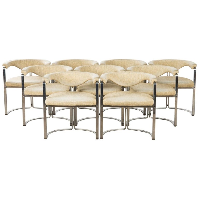 Horst Brüning, 9 Dining Chairs in Flat Chromed Steel, for Kill Int. 1968 For Sale