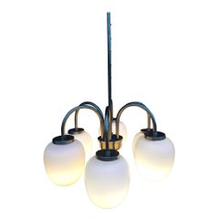 Danish Chandelier Brass and Opal Glass by Bent Karlby, 1960s