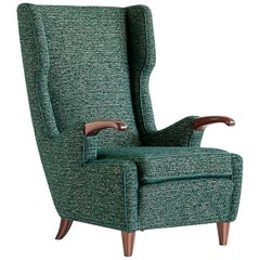 Pier Luigi Colli Armchair in Green Pierre Frey Fabric, Italy, 1947