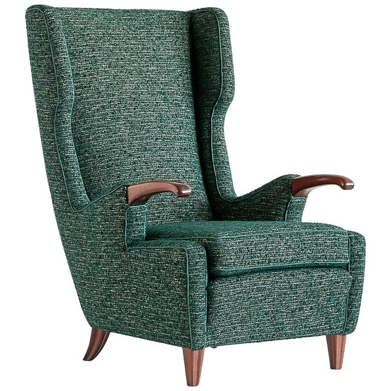 Pier Luigi Colli Armchair in Green Pierre Frey Fabric, Italy, 1947 For Sale
