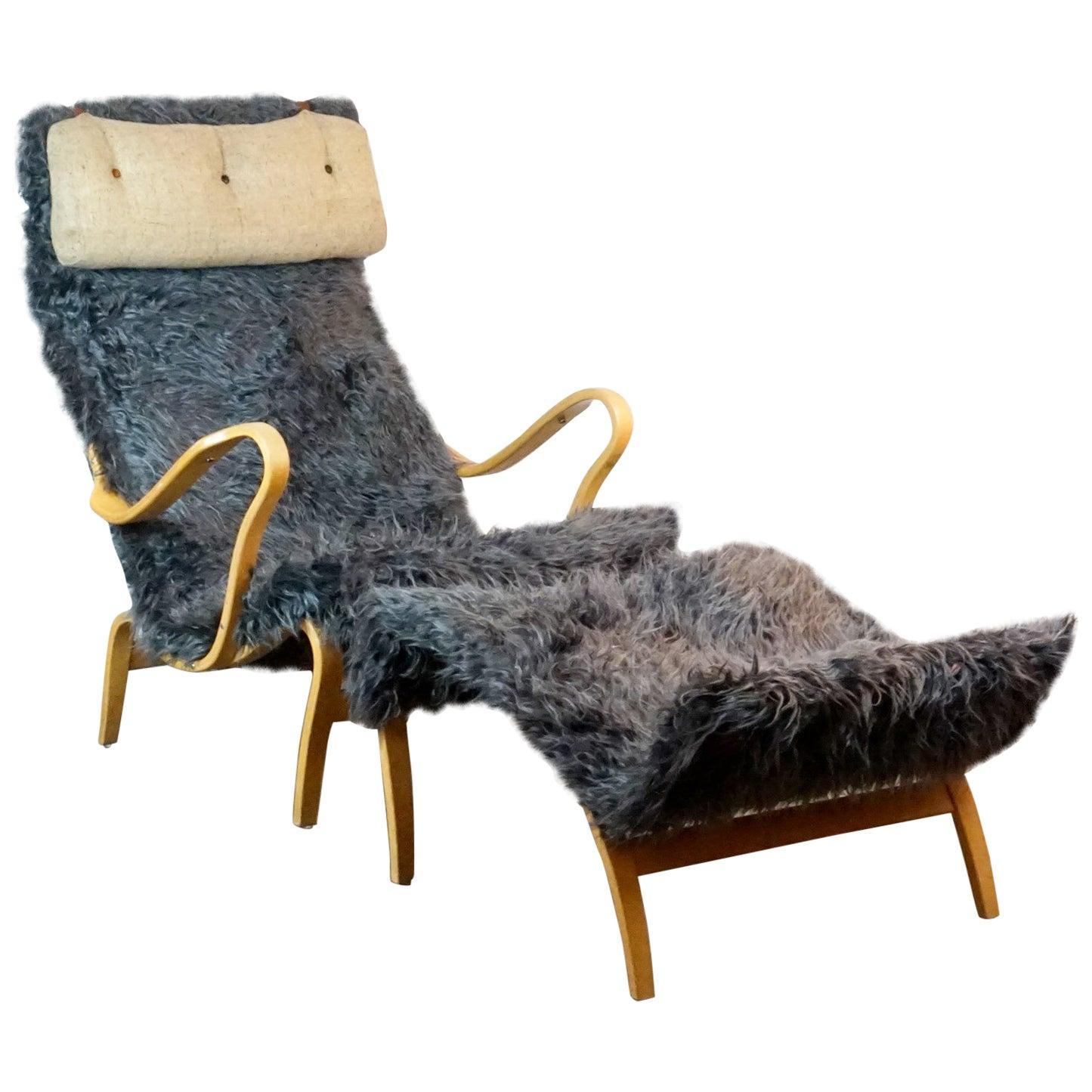 Scandinavian Beech Pernilla Lounge Chair with Ottoman by Bruno Mathsson for DUX