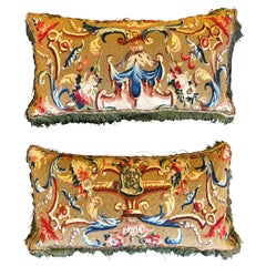 Pair of Antique French Tapestry Cushions, 18th Century