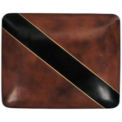 Italian Leather Black and Gold Jewelry Box