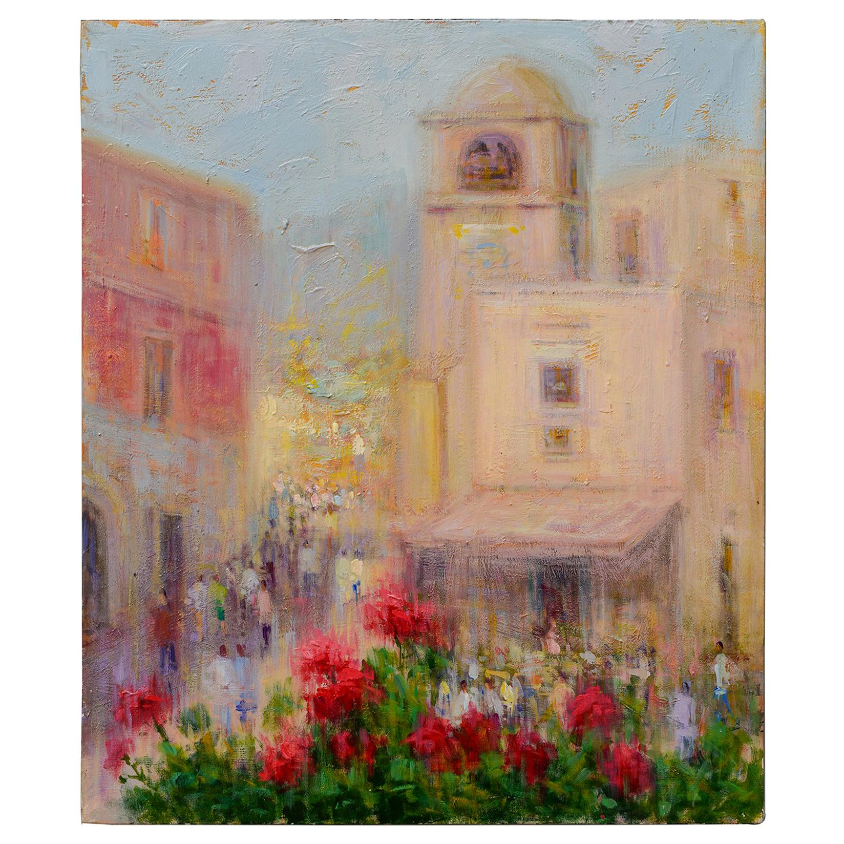 """Italian Painting """"Famous Small Square of Capri""""-  FINAL CLEARANCE SALE -"""