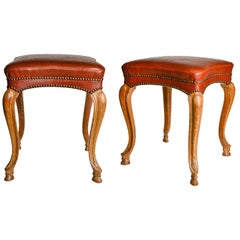 Pair of Italian 'or French' Vintage Leather Stools
