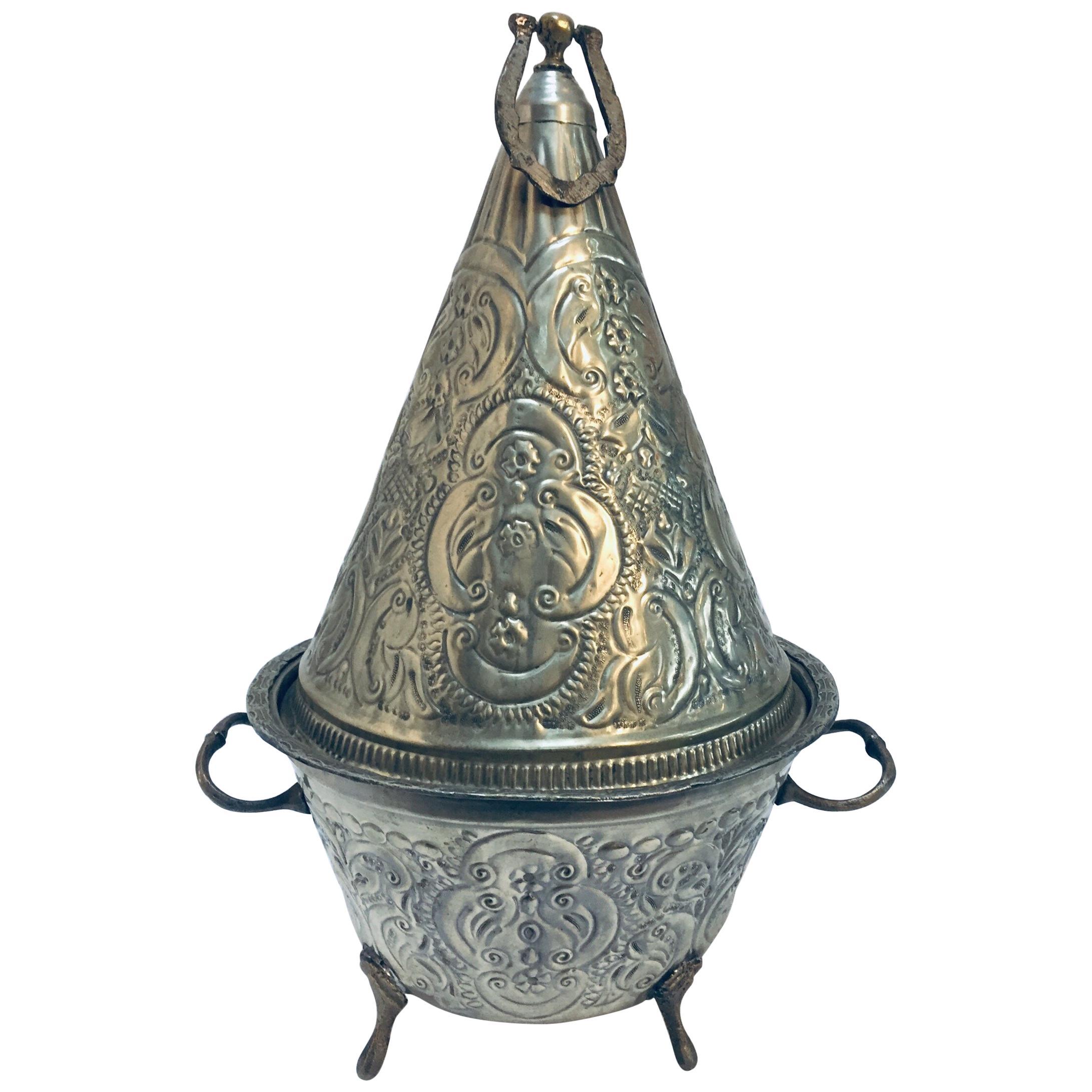 Moorish Silver Repousse Serving Dish Tajine with Cover