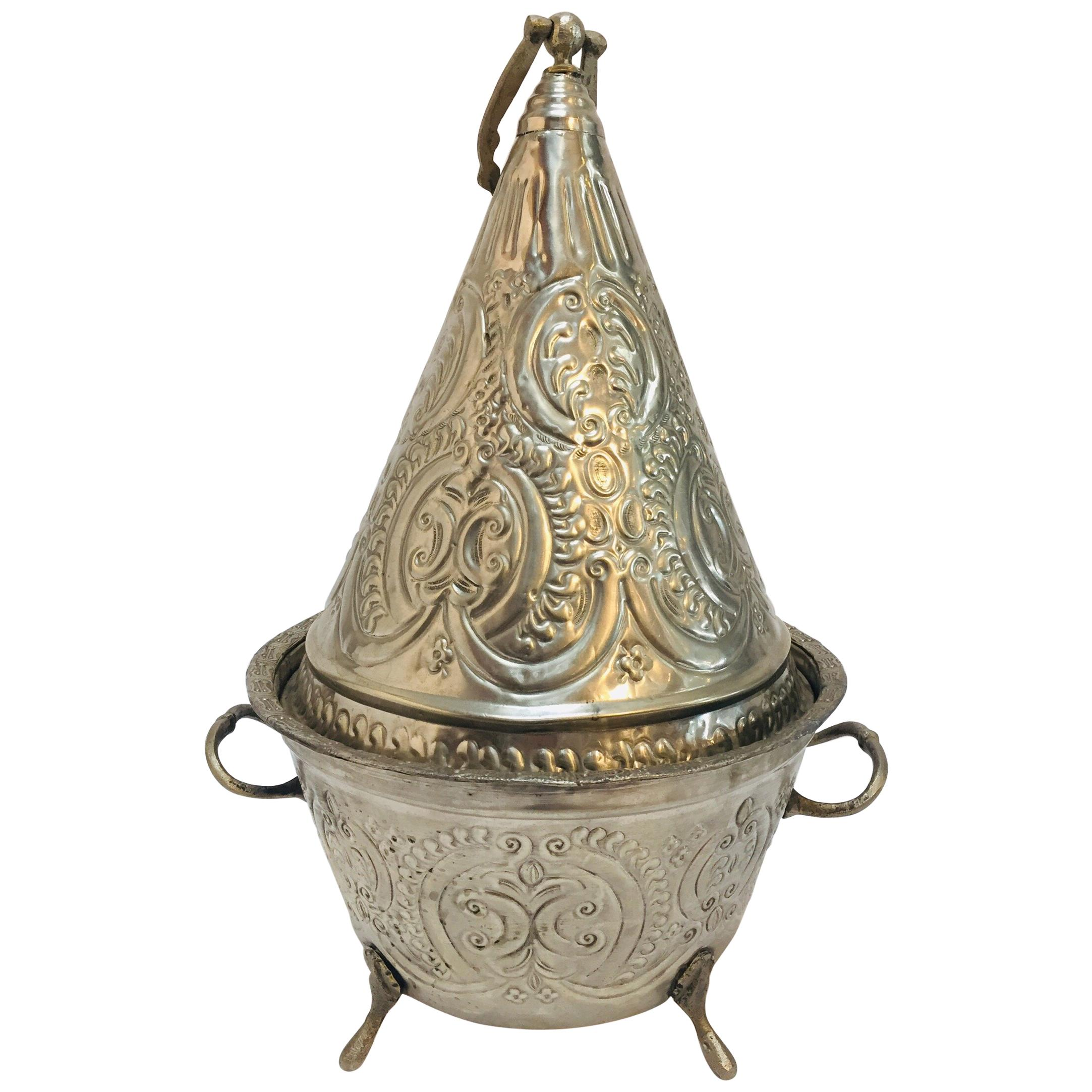 Moroccan Silver Repousse Plated Serving Dish Tajine with Cover