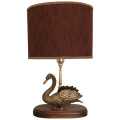 Vintage Brass Table Lamp with Brass Duck, 1960s