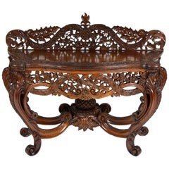 Carved Teak Console Table