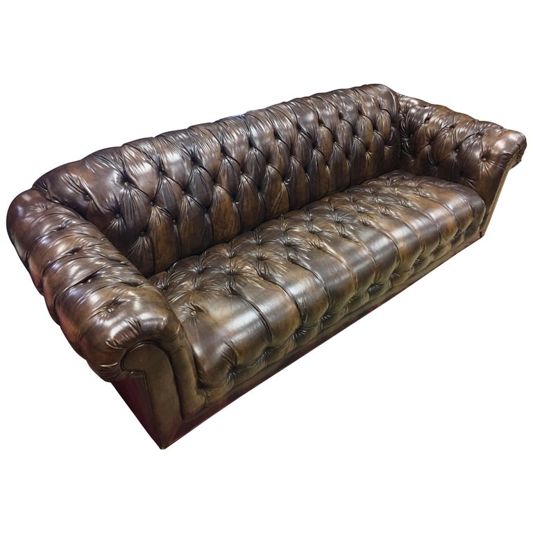 Vintage Chesterfield Tufted Sofa Made In England In Dark Brown For